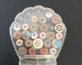 Vintage Spool Case- Plastic Shell Thread Holder