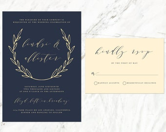 Navy and Champagne Wedding Invitation, Navy Blue Elegant Wedding Invitation, Laurel Wreath Invitation