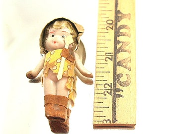 Robin Hood Girl Bisque Dolls Handpainted Japan Girl with Sword Minature Jointed Arms Frozen Leg Doll