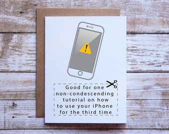 Iphone birthday card etsy funny birthday card birthday card for mom birthday card for dad iphone lesson bookmarktalkfo Image collections