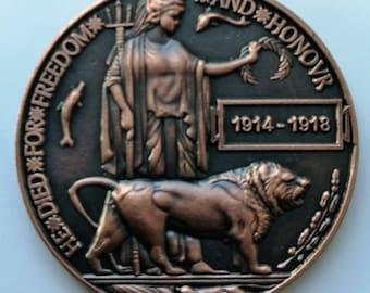 WW1 Death Plaque / Dead Mans Penny Remembrance Badge