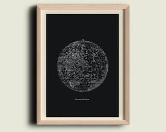 Moon Print  Vintage Image Dark Side of the Moon