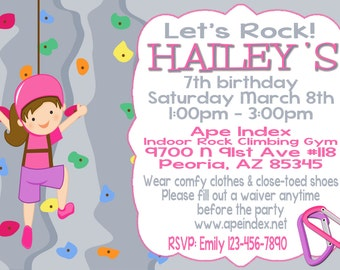 Girl Rock Climbing Party Invitation 5x7 printable digital file