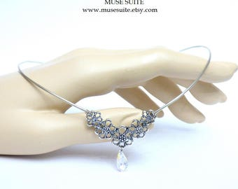 Elf crown in silver with swarovski elements - Elven tiara - Celtic circlet