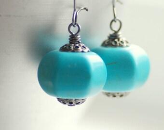 Turquoise Earrings, Blue Earrings, Southwestern Earrings, Cowgirl Earrings, Long Dangle Earrings, Semi Precious Stone Earrings