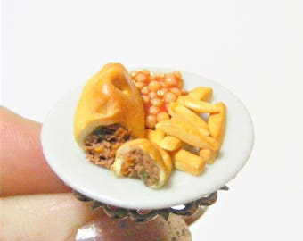 Food Jewelry Cornish Pastie Ring, Chips and Beans Ring, Miniature Food Jewelry, Mini Food Jewellery, Polymer Clay Food Food Ring, Food Charm