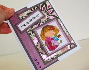 Handmade Greeting Card - Happy Birthday, Penny Black Stamp Sealed with a Kiss
