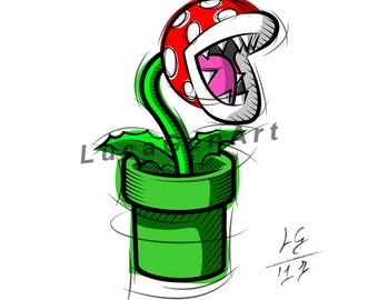 Piranha Plant from Super Mario, Digital Drawing, Instant Download, Decoration, Digital Print, Nintendo Art, Games Art