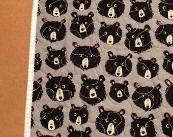 Black Bear Minky Handmade Baby Quilt