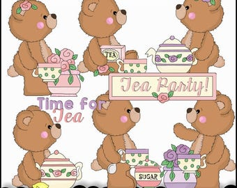 Tea Party Clipart - Whimsical Tea Party Bears - Instant Download - Bear Clipart - Commercial Use