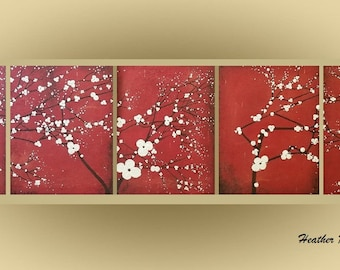 Original Landscape 5 Piece Textured Canvas Zen Art Painting Japanese Asian Inspired Cherry Blossom Red Black White Tree Made To Order