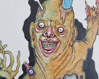 Trash Monster 8 1/2 × 11 original artwork. Free shipping!