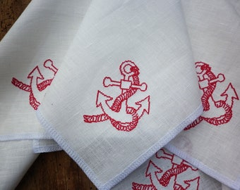 Set of 6 handmade square white linen napkins with embroidered red anchors, Fine table linens, Embroidered linens, Wedding, Custom, Rustic