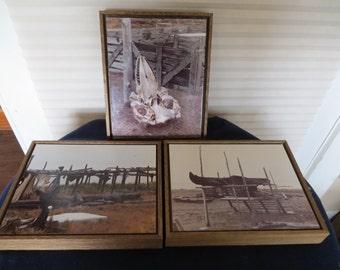 Vintage Framed Alaskan Eskimo Inuit Whale Hunt Photographs, Whale Skull