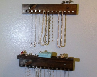 Rustic Jewelry Holder - Jewelry Shelf - Jewelry Organizer - Necklaces Storage - Earring Holder -Necklace Holder - Jewelry Storage