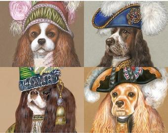 Spaniel Society - 4 Art Prints - Cavalier King Charles, English Cocker, King Charles and American Cocker - Pet Portraits by Maria Pishvanova