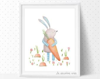 Bunny Nursery wall art, woodland animals theme, Kid room print, Rabbit illustration, Children wall art, Baby room decor Watercolor art