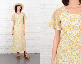 Vintage 70s Yellow Hippie Dress Sheer Angel Sleeve Floral Print Festival XXS 10685