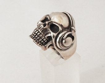 925 Sterling silver  headphones Skull Knight ring