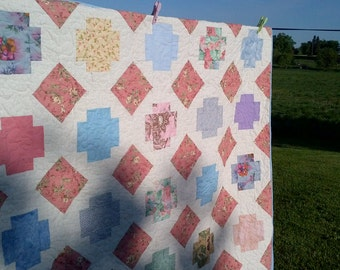 Spring Greek Cross large lap quilt-