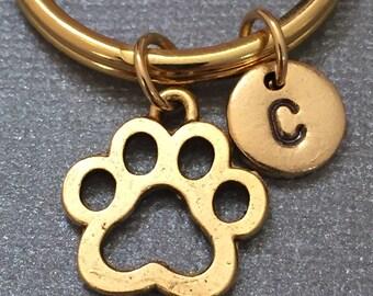 Paw print keychain, paw print charm, animal keychain, personalized keychain, initial keychain, initial charm, customized, monogram