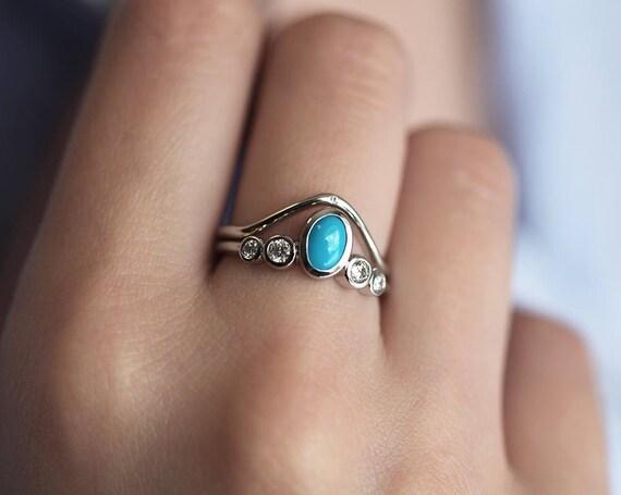 Turquoise Wedding Ring Set Turquoise Engagement Ring with