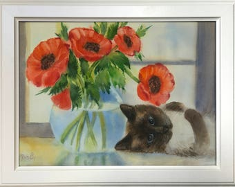 Still life with kitten and red poppies — original one of a kind watercolour painting by Irina Redine