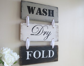 Rustic Wood Sign, Laundry Room Sign, Wood Laundry Sign, Rustic Laundry Sign, Black, White, Grey