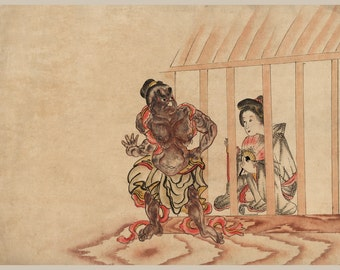 Japanese Art. Fine Art Reproduction. The Demon and a Courtesan from Yoshiwara, c. 1820. Fine Art Print