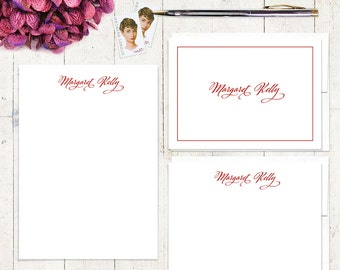 complete personalized stationery set - CLASSIC CALLIGRAPHY - personalized stationary - note cards - notepad - choose color