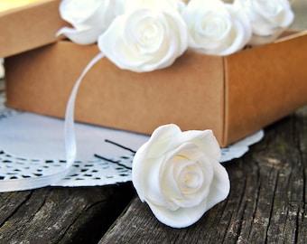 Forcine bianche, Forcine con le rose, Rose bianche, accessori per sposa, accessori per capelli, mollette con le rose, roselline bianche