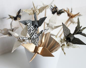 6 mini origami cranes gold and black wooden skewers
