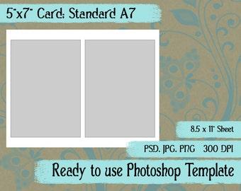 Scrapbook Digital Collage Photoshop Template, A7 Card, Paddle Fan