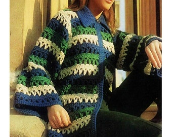 CROCHET JACKET PATTERN Vintage 70s Crochet Cardigan Pattern Crochet Sweater Pattern Crochet Coat Pattern