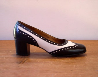 Vintage 1960's Spectator Heels / 60's Bally Bellezza Black & White Leather Stacked Heel Pinpoint Wingtip Pumps