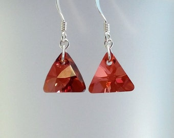 Red Triangle Swarovski Earrings, Red Magma Jewellery, Red Crystal Earrings, Bridal Jewelry, Gift For Her, Gift Under 15, Christmas Present.