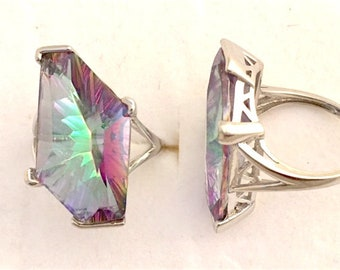 Mystic Quartz Ring in Sterling Silver