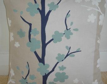 "14x14 Pillow Cover 14"" Duck Egg Navy Blue Cream White Beige Decorative Throw Pillow Cushion Slip Sham Case Pillowcase 14""x14"" Blomma Fabric"