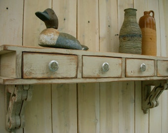 Floating Desk | Wood Wall Desk | Wall Mounted Shelf | Entryway | Desk with Drawers | Cottage Chic Shabby | French Country | 44.5 x 14 x 9.25