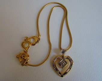 YSL Yves Saint Laurent crystal heart necklace