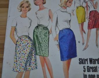 Vintage Skirt Pattern. Uncut Original. Butterick 3999. Waist 26 Hip 36. Quick and Easy Sew.