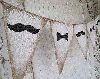 Mustache and Bowties Burlap Banner