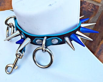 Two Toned Blue Spiked Ring & Clip Collar