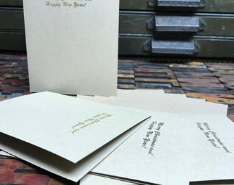 Gold Foil Merry Christmas Letterpress Holiday Cards - Set of 4