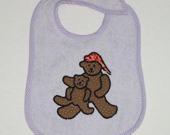 Handmade Baby Bib - Toddler Bib - Sitting Bears - Applique - Terrycloth Toddler Bib