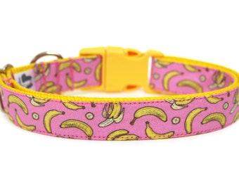 """Banana Dog Collar 3/4"""" or 1"""" Girl Dog Collar"""