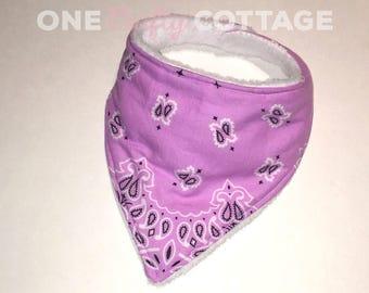 Bandana Bib - Purple - White - Paisley - Drool - Teething - Baby Shower Gift