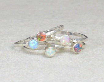 Grab 5 - Small Opal Rings, Opal Ring, Opal Jewelry, Stacking Ring, October Birthstone Ring, Opal Ring,  Mothers Ring