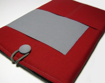 iPad Mini Cover, iPad Mini 3 Case, Kindle Fire Case, Nexus 7 Sleeve, Dell Venue Case, Galaxy Tab cover, Solid Red & Gray