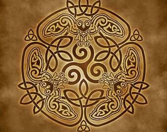 Wise Owl Celtic Owl Triskele Knotwork -  Pagan Wiccan Print - Brigid Ashwood